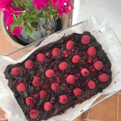 Gooey vegan chocolate and raspberry brownie